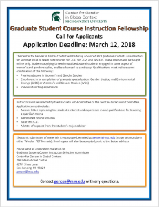 Graduate Student Course Instruction Fellowship- The Center for Gender in a Global Context (GenCen)