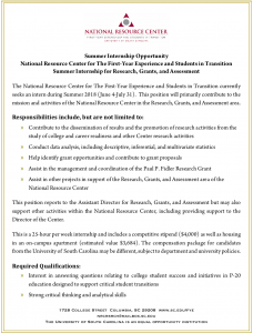 Internship-National Resource Center for The First-Year Experience and Students in Transition