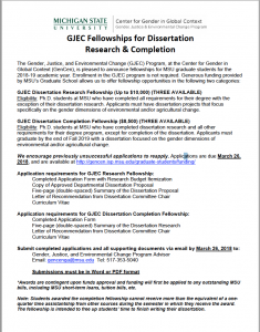 GJEC Fellowships for Dissertation Research and Completion