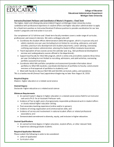 Instructor/Assistant Professor and Coordinator of Master's Programs – Fixed Term-Michigan State University Educational Administration Department