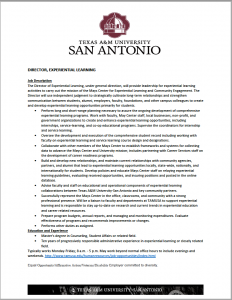 Director of Experiential Learning- Texas A&M University-San Antonio