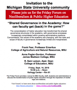 Event: Friday Forum on Neoliberalism & Public Higher Education