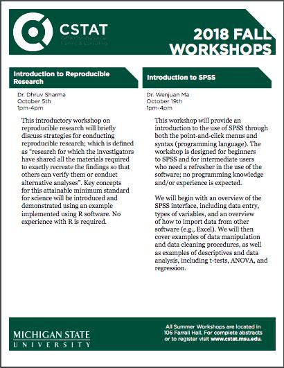 Events: CSTAT Fall Workshops