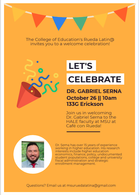 Event: Rueda Latin@ Welcome Celebration for Dr. Gabriel Serna