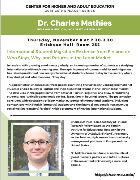 CHAE Speaker Series: International Student Migration, Dr. Charles Mathies