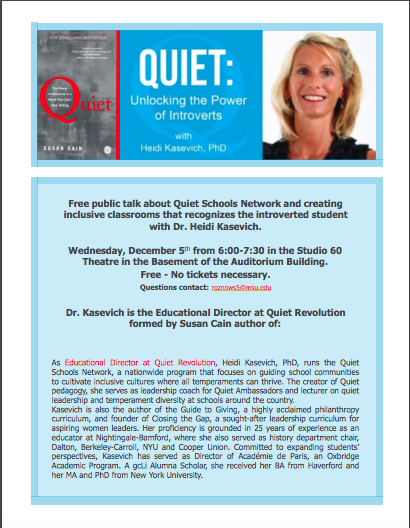 Event: Quiet Unlocking the Power of Introverts with Dr. Heidi Kasevich