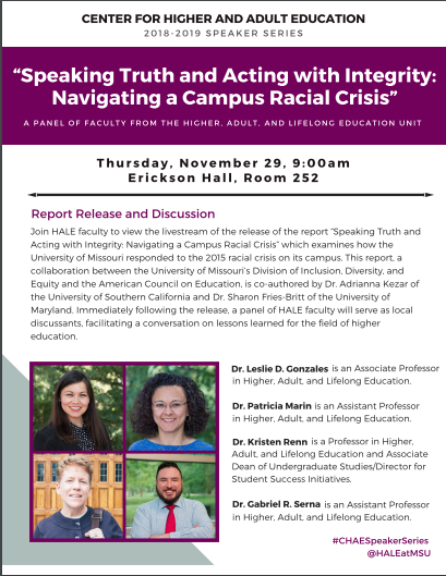 "CHAE Speaker Series: ""Speaking Truth and Acting with Integrity: Navigating a Campus Racial Crisis"""