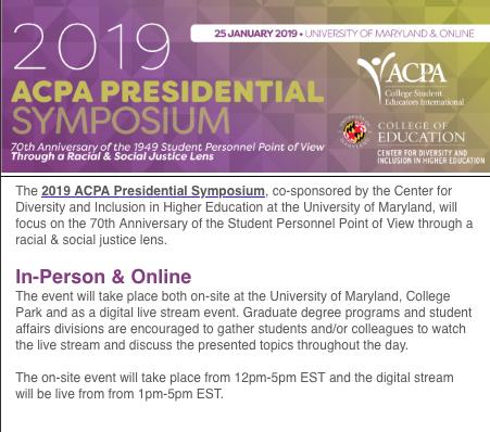 Event: Livestream of 2019 ACPA Presidential Symposium