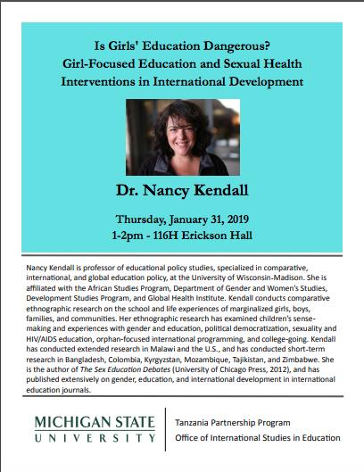 "Event: ""Is Girls' Education Dangerous? Girl-Focused Education,"" Dr. Nancy Kendall"