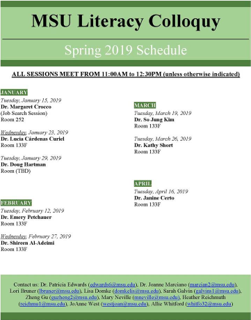 Events: MSU Literacy Colloquy, Spring 2019 Schedule