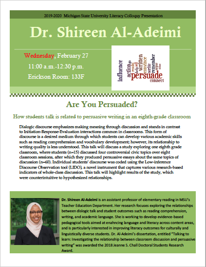 Event: MSU Literacy Colloquy Presentation, Dr. Shireen Al-Adeimi