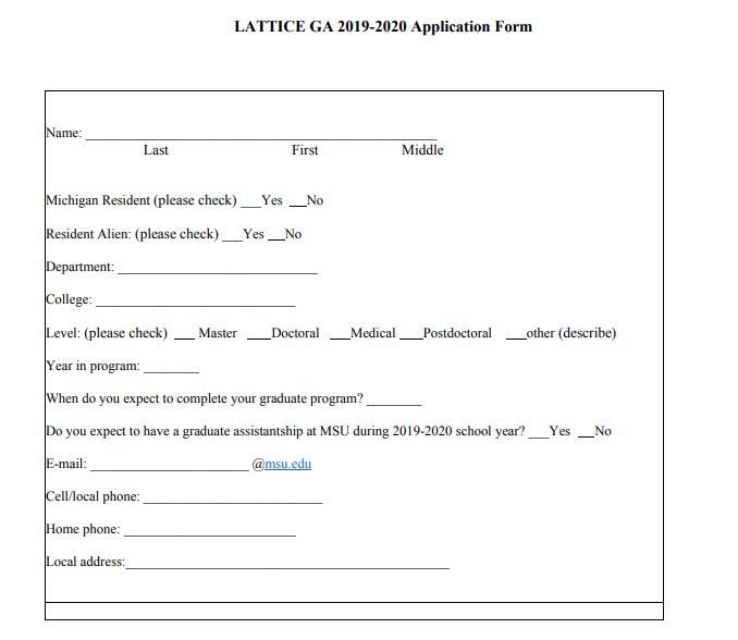 Graduate Assistantship Available: LATTICE