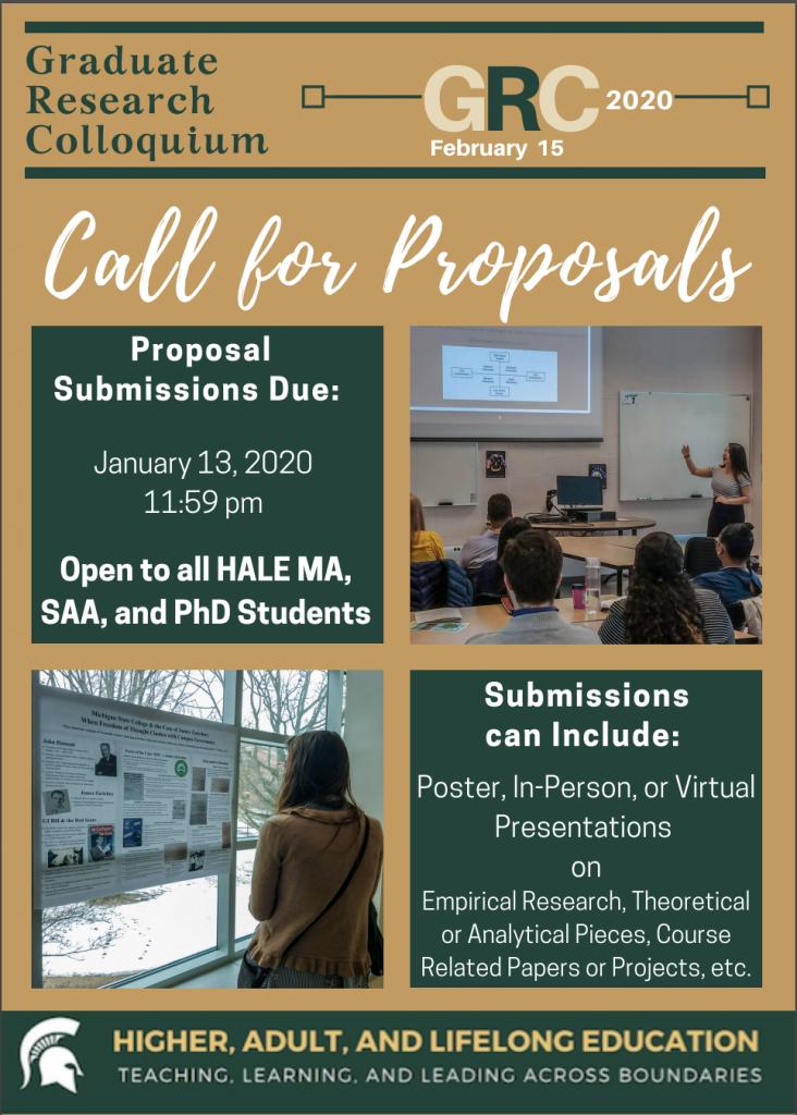 Call for Proposals: Graduate Research Colloquium (GRC) 2020