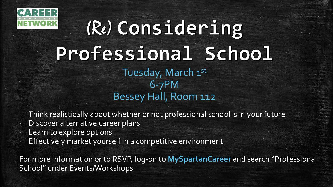 (Re) Considering Professional School workshop – March 1, 2016