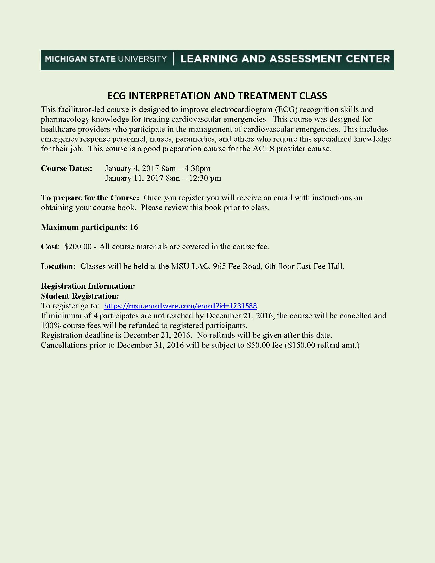 MSU ECG and Pharmacology Course & Study Abroad