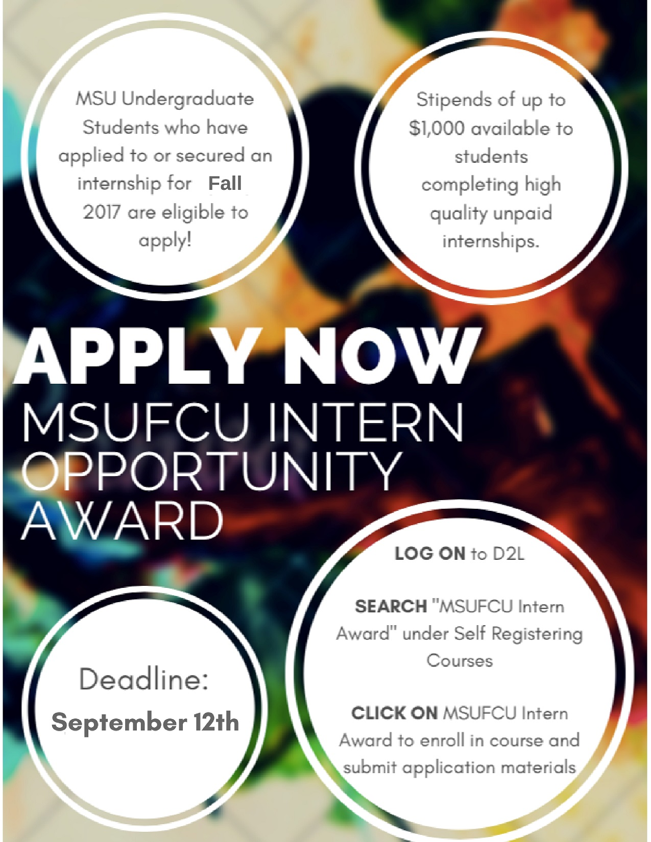 Scholarship for students with unpaid internship – Fall 2017