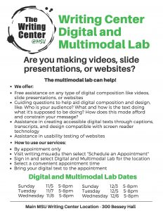 Writing Center Digital and Multimodal Lab