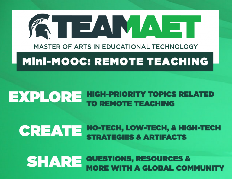 Alt text: Explore high-priority topics related to remote teaching. Create no-tech, low-tech, and high-tech strategies and artifacts. Share questions, resources, and more with a global community. Free to all educators!