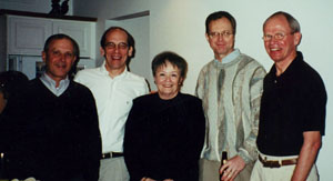 Jack Schwille (far right) with fellow College of Education researchers who worked together over three decades ago, (from far left): Andrew Porter, William Schmidt, Lucy Bates-Byers and Robert Floden.