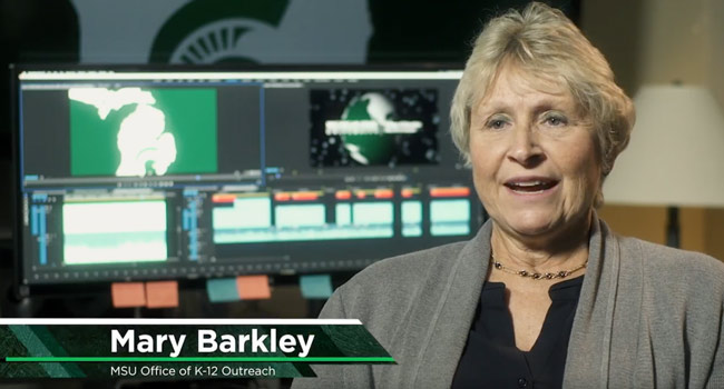 Mary Barkley talks during a video.
