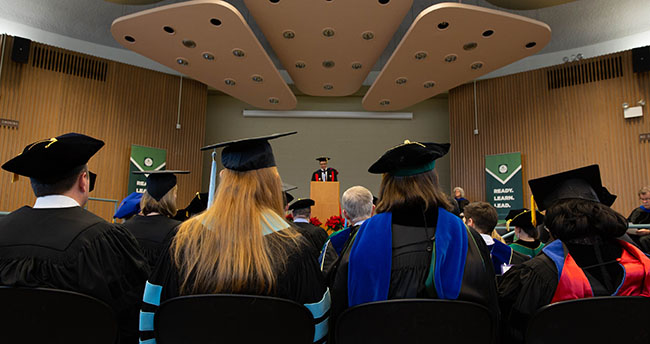 Dean Floden Speaking at Fall 2018 Convocation at Michigan State University Kiva, Erickson Hall, College of Education