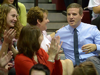 College of Education alumnus Mark Julien reacts to receiving a Milken Award.