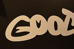 A close-up of the good/evil ambigram.