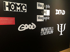 A look at some of the ambigrams in Mishra's exhibit.