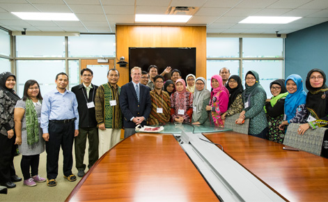Dean Donald E. Heller with the first cohort of Indonesian educators.