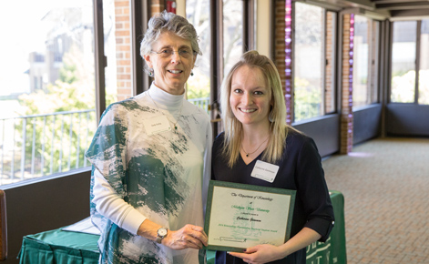 Catherine Gammon with Professor Deb Feltz at the annual Kinesiology Awards Luncheon.