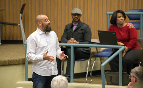 Jeff Duncan-Andrade speaks during the inaugural Pursuing Educational Justice Series event while MSU faculty Terry Flennaugh and Dorinda Carter Andrews listen
