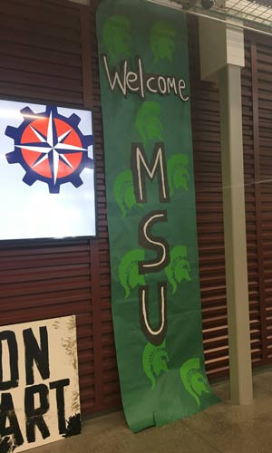 """Welcome MSU"" sign painted and waiting for the Spartans."