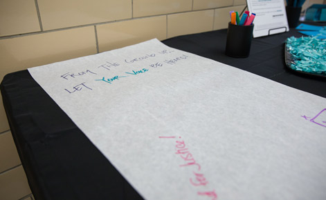 "An example of a community writing space for the ""I March, I Stand"" exhibit in IM Circle."
