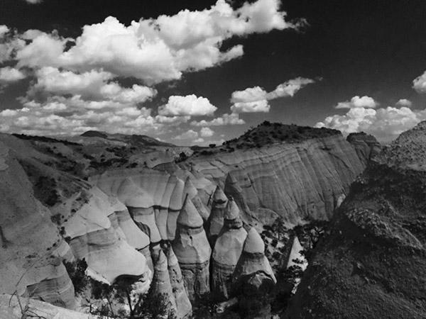 Black and white photo representing Kasha-Katuwe Tent Rocks National Monument