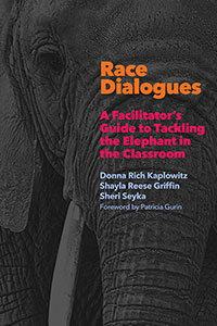 "Book cover for ""Race Dialogues,"" featuring bright text of the title and an elephant in the background."