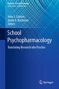 School Psychopharmacology book cover. Mostly blue, with a subtle wavy design behind. Letters in white indicate title, editors names.