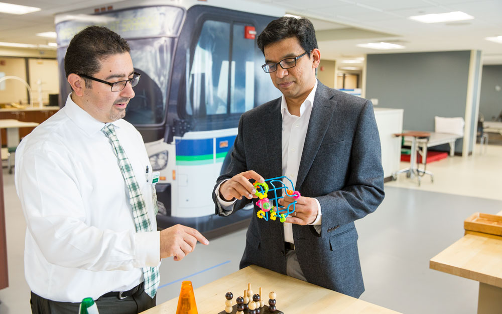 Rajiv Ranganathan (right), assistant professor in the Department of Kinesiology, and Rani Gebara (left), assistant professor in the MSU College of Osteopathic Medicine