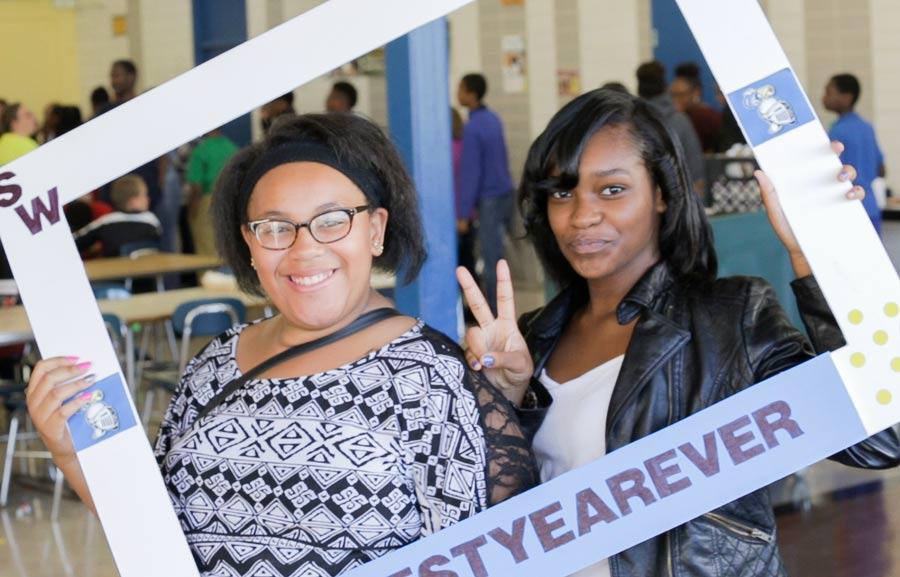 Flint high school students smiling