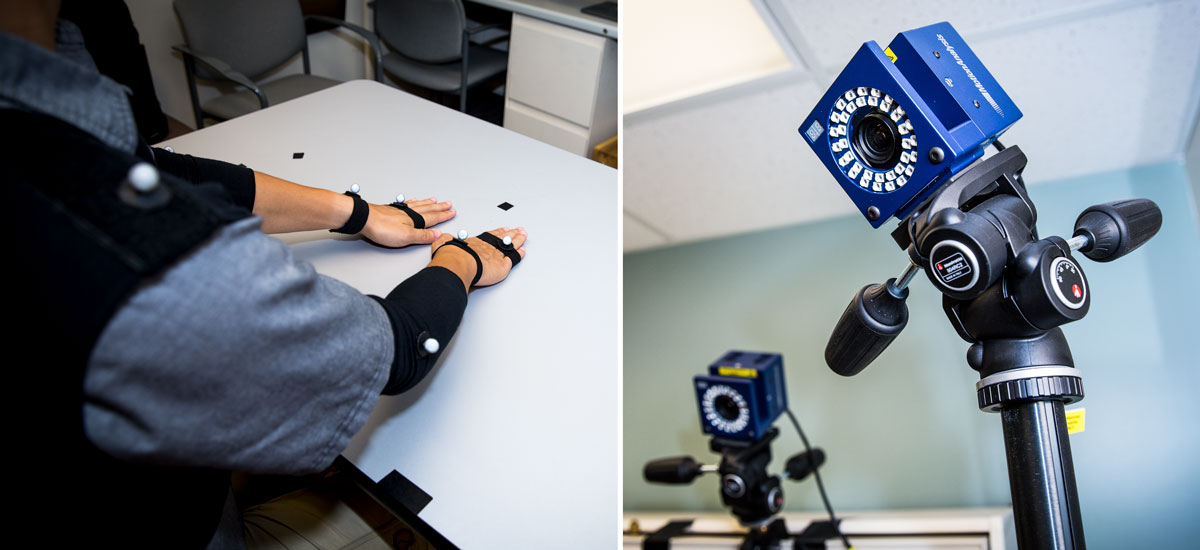 Research subject fitted with sensors for camera and one of the motion capture cameras