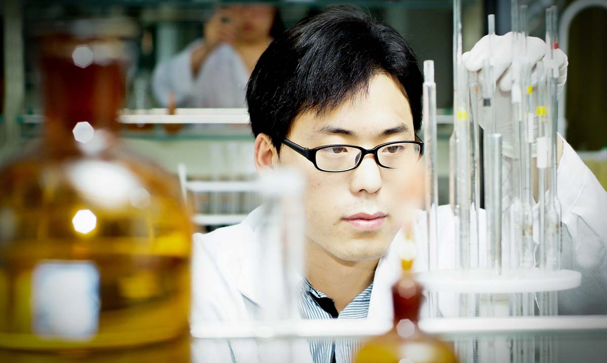 Researcher in biology lab