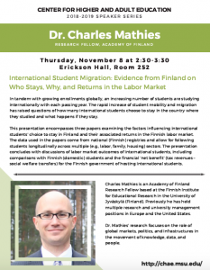 CHAE Speaker Series: Dr. Charles Mathies