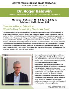 CHAE Speaker Series: Trustees in Higher Education, Dr. Roger Baldwin