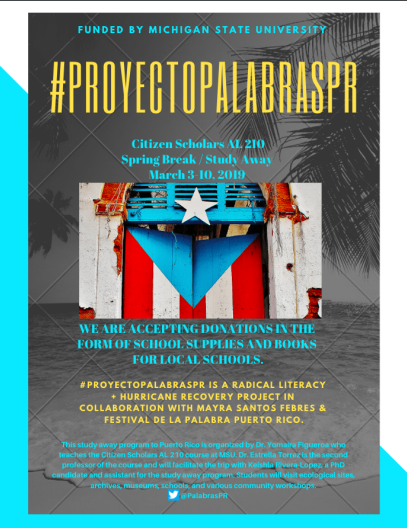 Donations for Puerto Rico by March 1st