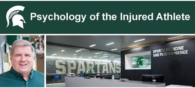 "On top, ""Psychology of the Injured Athlete"" by Spartan helmet. Beneath, a photo of Dan Gould, and a picture of the Skandalaris Football Center."